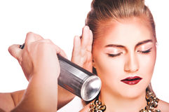 Hair spray, women on white background Royalty Free Stock Images