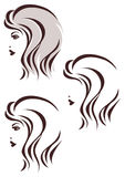 Hair stile icon, womans face. Profile Stock Images
