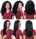 Hair before and after straightening. Young woman with black hair before and after straightening over blue background Stock Photo