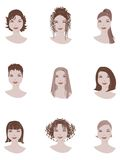 Hair style. Examples of hairstyle for woman Royalty Free Stock Photo