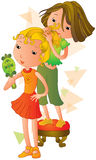 The hair style. Two girls trying on new hair-styles Royalty Free Stock Photos