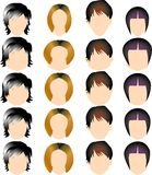 Hair style. Vector illustration for a variety of hair style and shape of face Stock Photo