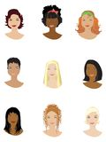 Hair style. Examples of different hair styles Royalty Free Stock Images