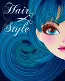 Hair Style Beauty Illustration. Vector, mesh Royalty Free Stock Image