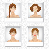 Hair style fashion girl set Royalty Free Stock Images