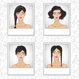 Hair style fashion girl set Royalty Free Stock Image