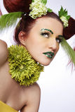 Hair style with flowers. Royalty Free Stock Photography