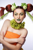Hair style with flowers. Stock Photo