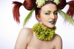 Hair style with flowers. Royalty Free Stock Photo