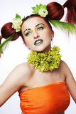 Hair style with flowers. Royalty Free Stock Photos