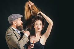 Hair style and hair stylist. Hair care. Trendy and stylish. Long hair. Fashion haircut. stock photos