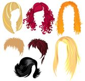 Hair style samples. Set of hair style samples for woman vector illustration