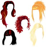 Hair style samples. Set of hair style samples for woman stock illustration
