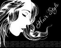 Hair style. Sketch. Beauty girl face. On a black background Royalty Free Stock Photography