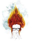 Hair style sketch. Indie girl with long fiery hair. Fashion illustration. Hair style sketch. Indie girl with long fiery hair Stock Photos