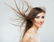 Hair style smiling woman portrait. Royalty Free Stock Image