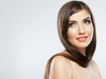 Hair style smiling woman portrait. Stock Photos