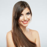 Hair style smiling woman portrait. Royalty Free Stock Photography