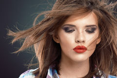 Hair style woman face portrait with closed eyes Royalty Free Stock Images