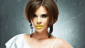 Hair style smiling woman portrait royalty free stock images