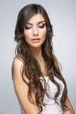 Hair style young woman portrait.Female model Royalty Free Stock Photography