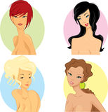 Hair styles. Women with hairstyle based on their personality Royalty Free Stock Images
