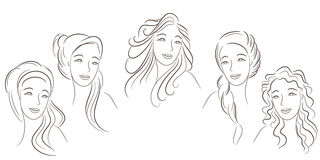 Hair styles. The girl with different hairdresses. The girl in different styles of hair Stock Photography