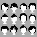 Hair styles. Set of various hair styles on white heads Royalty Free Stock Images