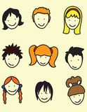 Hair styles. In this picture represented hair styles,boys,girls, emo,simple,pigtails and more Stock Images