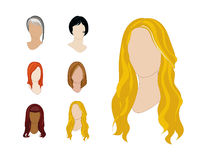 Hair Styles Set. Vector Illustration Set of Hair Colors and Styles for Professional Use Royalty Free Stock Photo
