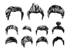 Hair styles vector set Stock Images