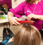 Hair styling in a beauty salon Stock Images