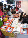 Hair styling book stand. Its photo of Hair styling book stand Event - Professional Beauty Expo 2015, Mumbai Date - 6th Oct 2015 royalty free stock photography