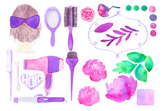 Hair styling and floral decor. Hand drawn set of Stock Images