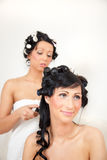 Hair styling girls Stock Photos