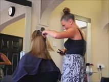 Hair styling hairdresser salon stock video footage