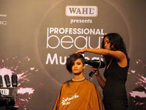 Hair Styling by Itty Agarwal. Hair styling was done by Itty Agarwal, Event - Professional Beauty Expo 2015, Mumbai Date - 6th Oct 2015 stock photography