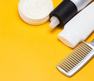 Hair styling products with a comb Stock Photography
