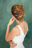 Hair Styling Rear View, Brown color Iroquois hair style. Stock Photos