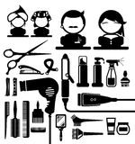Hair styling silhouette icons set Stock Photos
