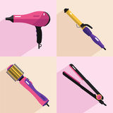 Hair styling tools icons Stock Images
