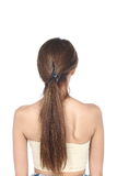 Hair Styling turn back View, Asian Woman before make up. no reto Royalty Free Stock Image