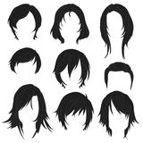 Hair styling for woman drawing Black Set 2 Stock Photography
