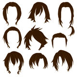 Hair styling for woman drawing Brown Set 3 Stock Images