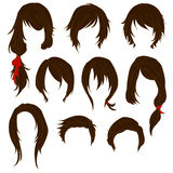 Hair styling for woman drawing Brown Set 1 Royalty Free Stock Images
