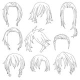 Hair styling for woman drawing Set 3 Stock Images