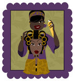 Hair stylist. Illustration of a cosmetologist doing a clients hair stock illustration
