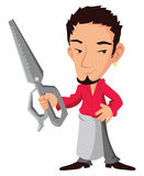 Hair stylist. With scissors in hand. cartoon vector iluustration Royalty Free Stock Image