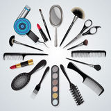 Hair Stylist And Makeup Tools Royalty Free Stock Photography