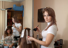 Hair stylist coloring    girl hair Stock Image